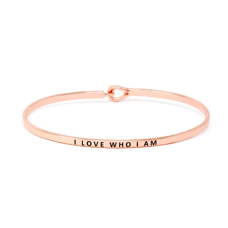 I LOVE WHO I AM Inspirational Message Bracelet