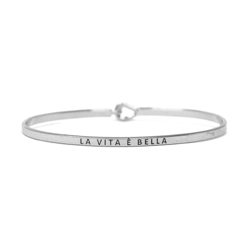 LA VITA E BELLA Inspirational Message Bracelet