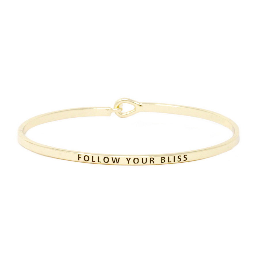 FOLLOW YOUR BLISS Inspirational Message Bracelet