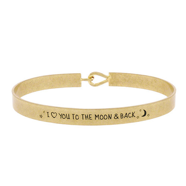 I Love You to the Moon and Back - Inspirational Message Brass Bracelet