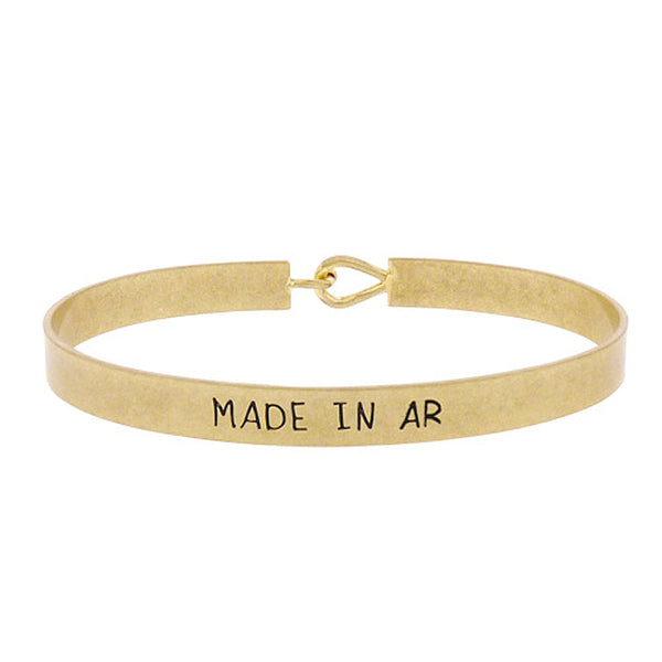 Made in AR - State Map Brass Bracelet