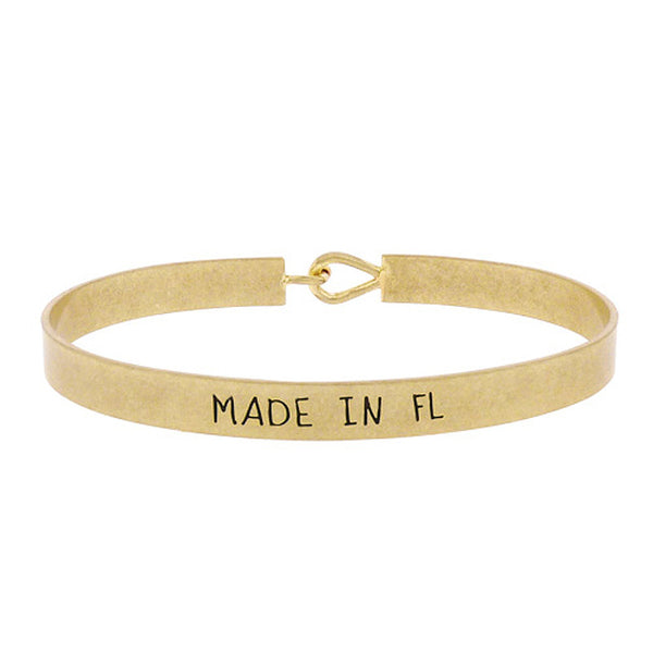 Made in FL - State Map Brass Bracelet