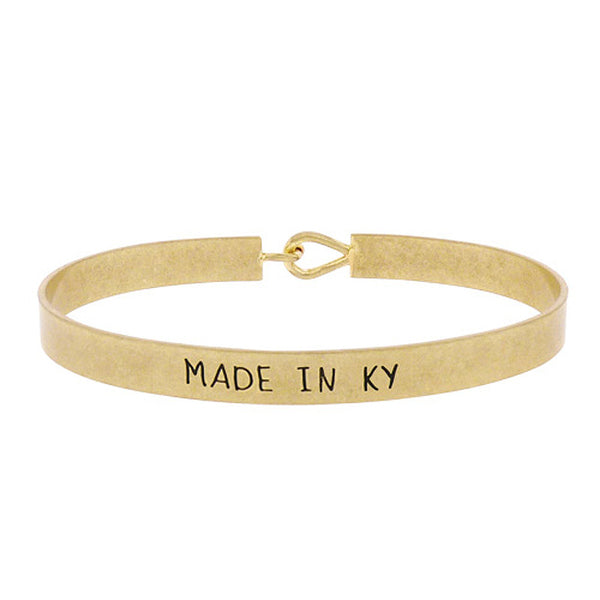 Made in KY - State Map Brass Bracelet