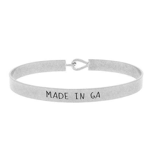 Made in GA - State Map Brass Bracelet