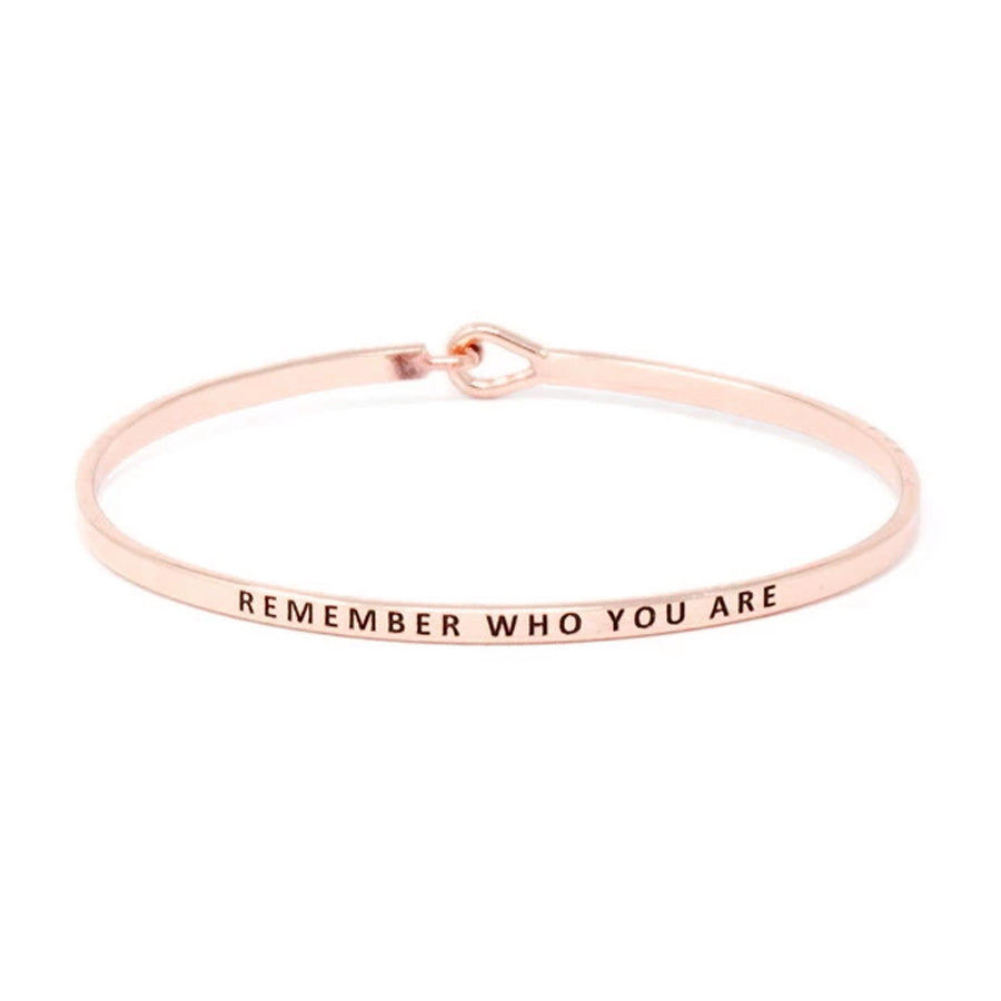 REMEMBER WHO YOU ARE Inspirational Message Bracelet