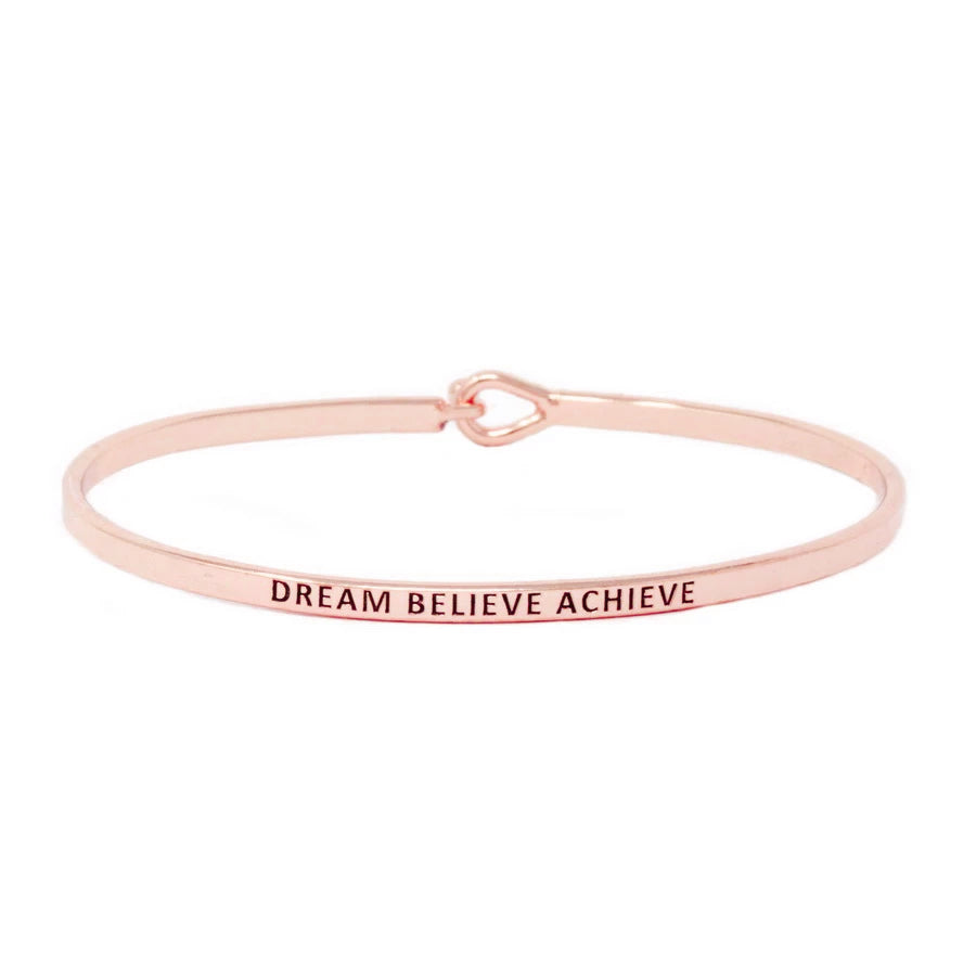 DREAM BELIEVE ACHIEVE Inspirational Message Bracelet