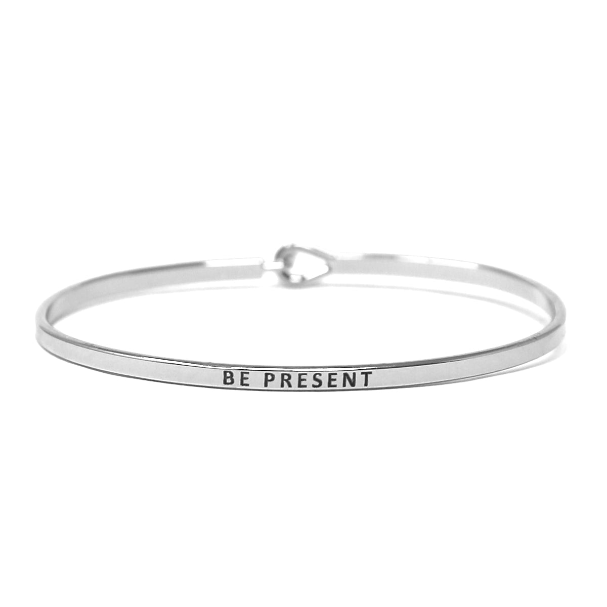 BE PRESENT Inspirational Message Bracelet