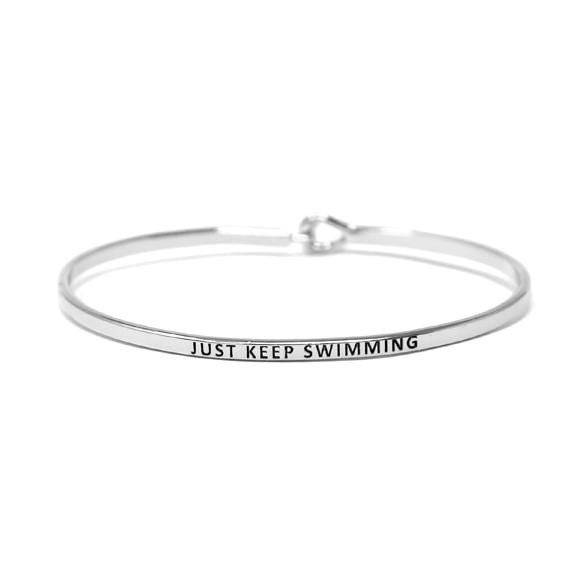 JUST KEEP SWIMMING Inspirational Message Bracelet