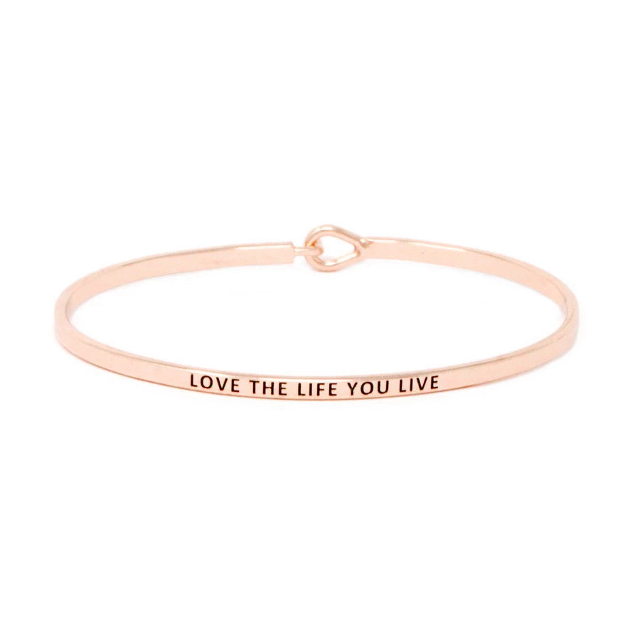 LOVE THE LIFE YOU LIVE Inspirational Message Bracelet