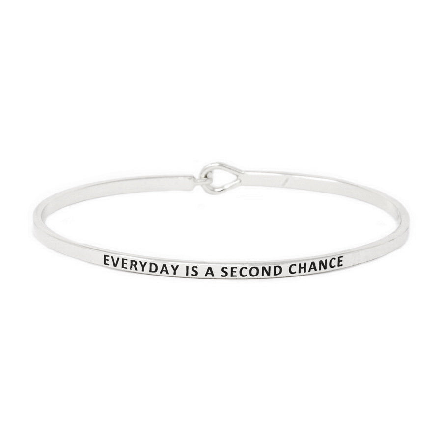 EVERYDAY IS A SECOND CHANCE Inspirational Message Bracelet