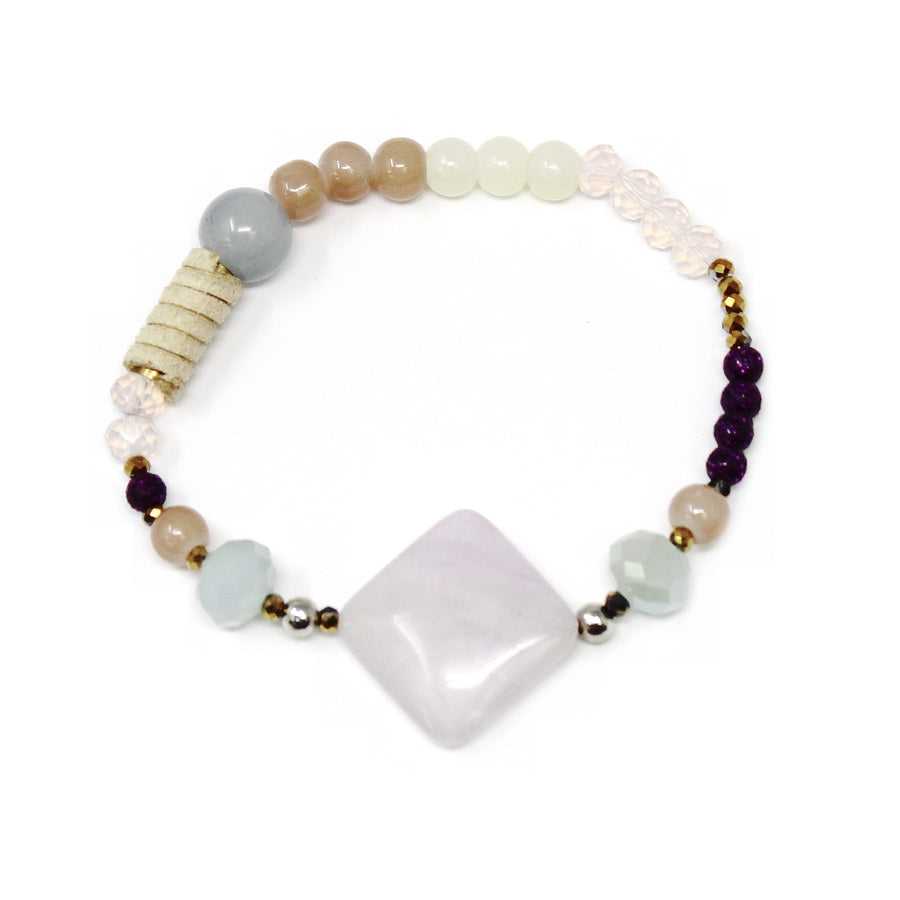 Natural Stone Charm Beaded Stretch Bracelet