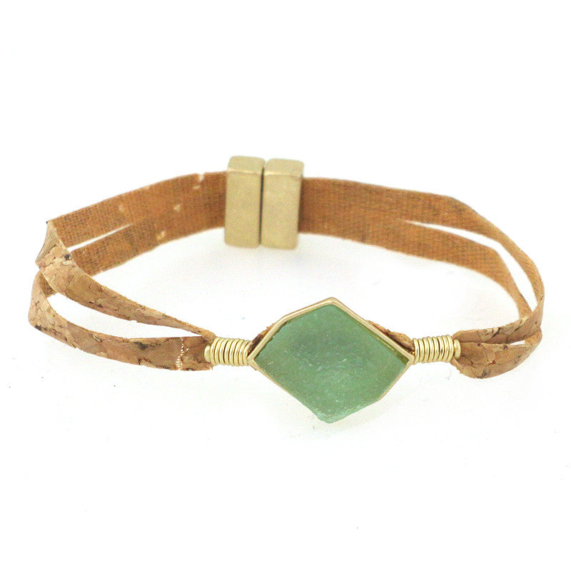 Semi Precious Stone with Cork Magnetic Bracelet