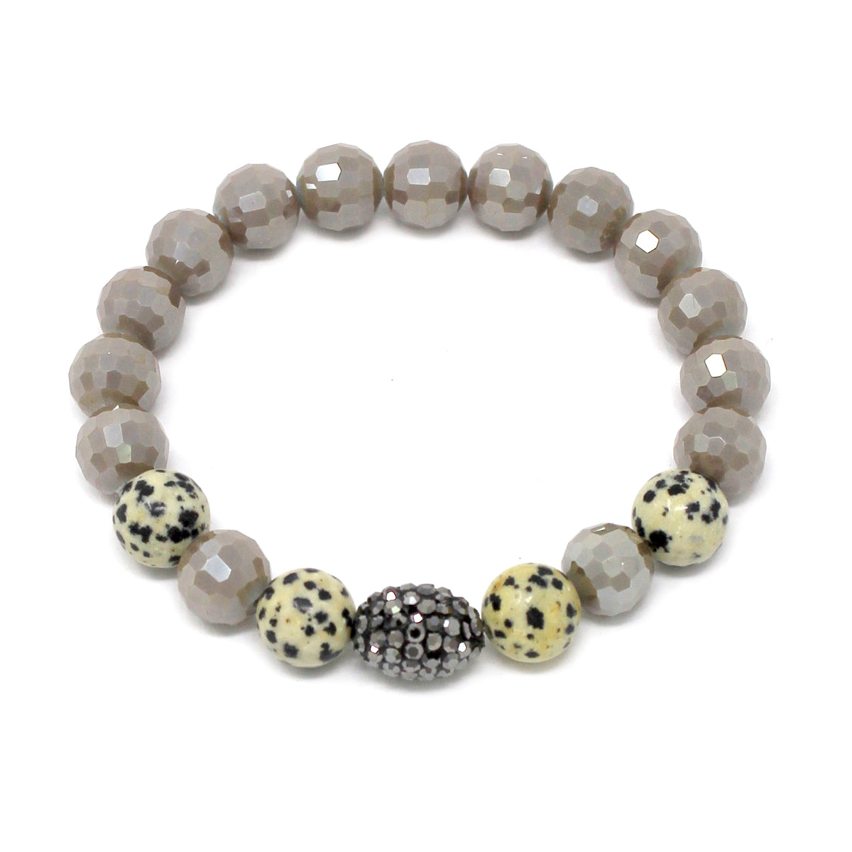 Glass Stone Pave Ball & Natural Stone Glass Beaded Stretch Bracelet