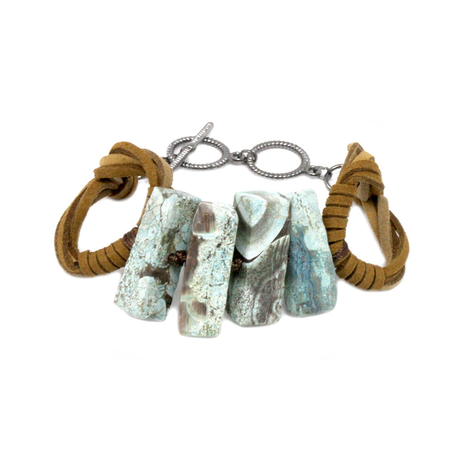 Natural Stone Bar And Suede Hoop Toggle Bracelet