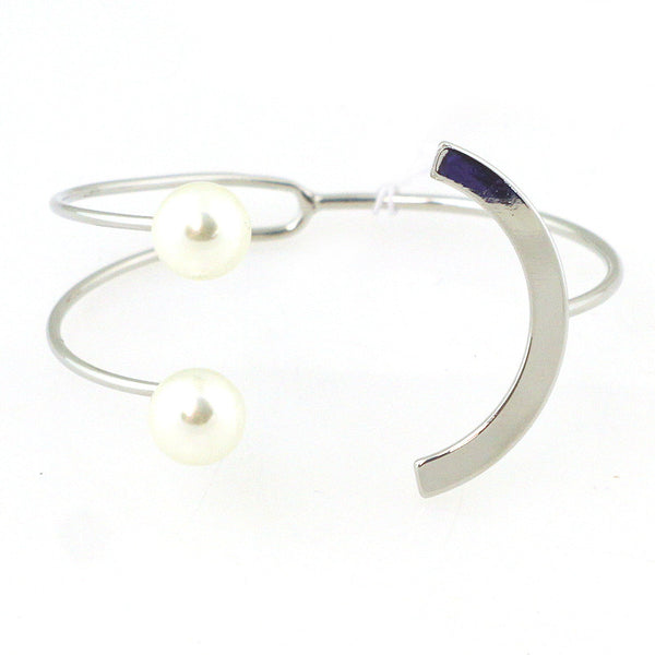 Double Pearl Crescent Cuff Bracelet