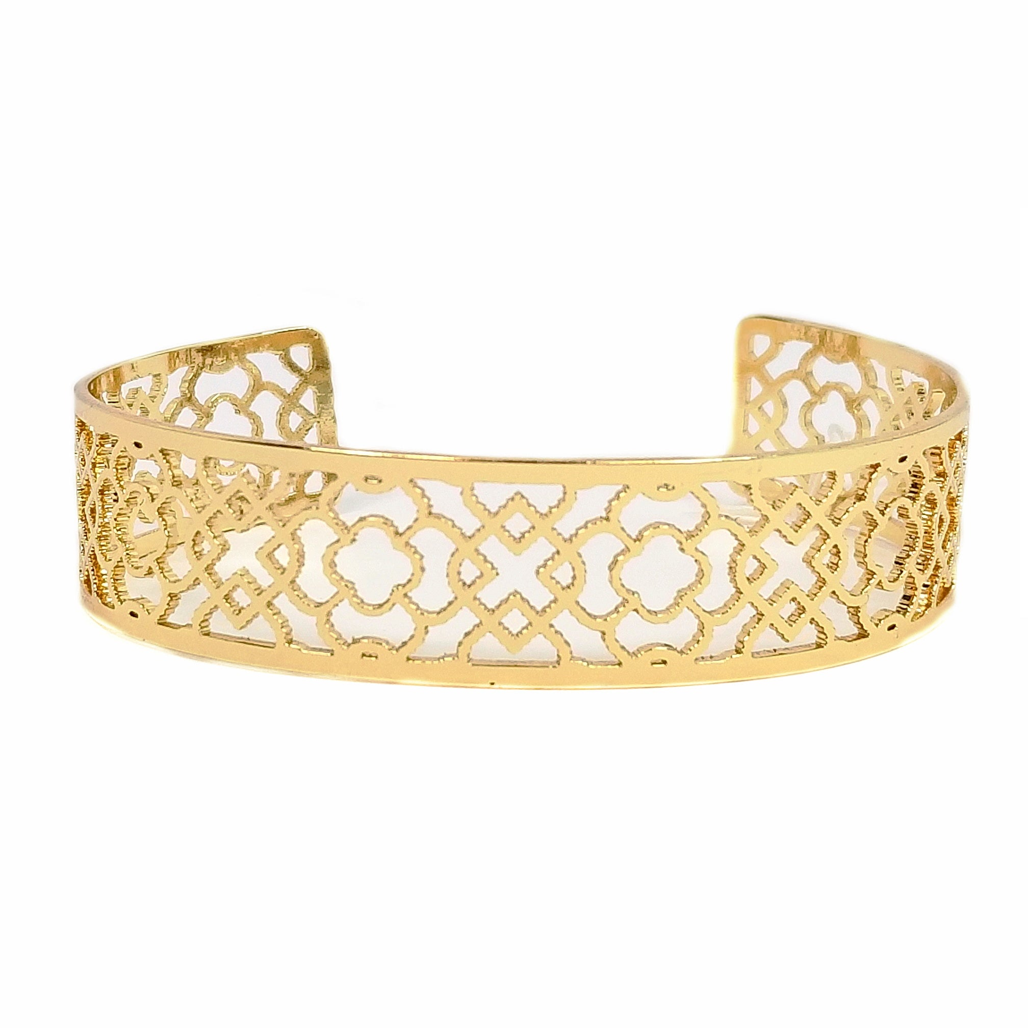 Flower Cut Filigree Cuff Bracelet