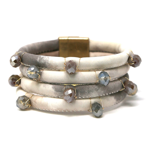 Glass Stone Wrapped Texture Faux Leather Multi Layer Bracelet