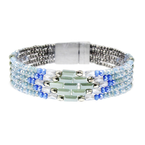 Glass Stone And Seed Bead Magnetic Bracelet