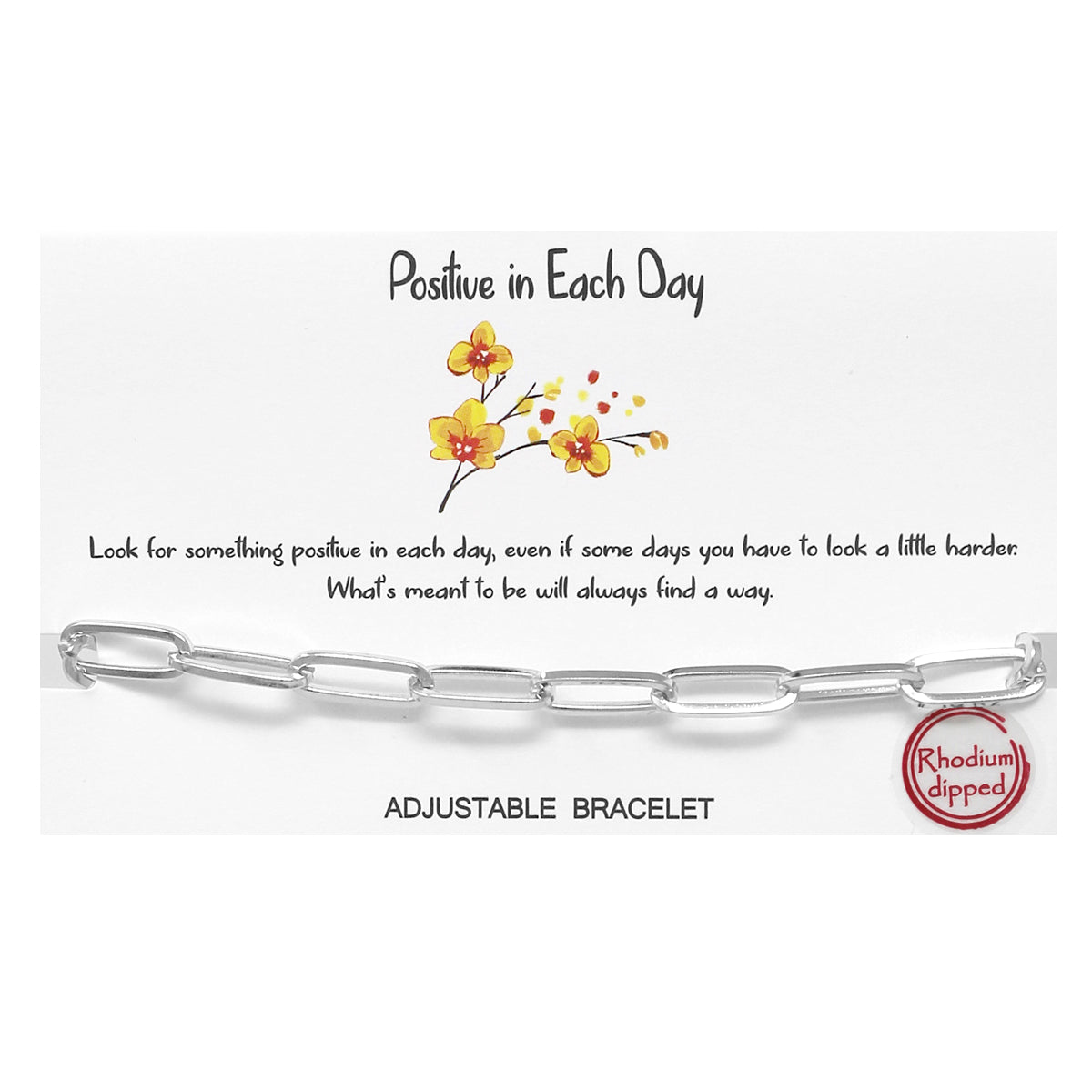 Tell Your Story: Positive In Each Day Oval Shape Linked Chain Adjustable Bracelet