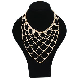 Rhinestone Waterfall Net Back Jewelry / Necklace Set