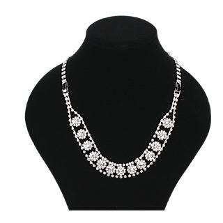 Rhinestone Waterfall Back Jewelry / Necklace Set