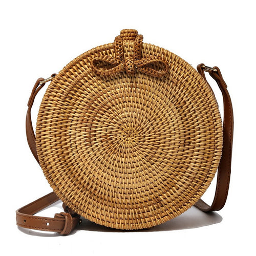 RESTOCKED Hand Woven Round Rattan Straw Crossbody Bag