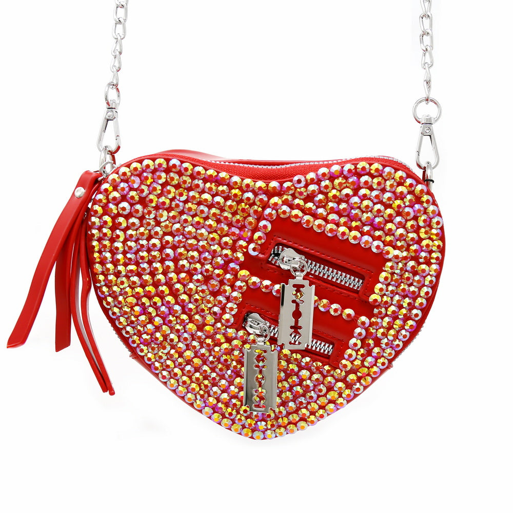 Faceted Stone Embellished Heart Shape Crossbody Bag