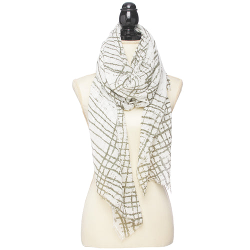 Plaid Brush Touch Print Oblong Scarf