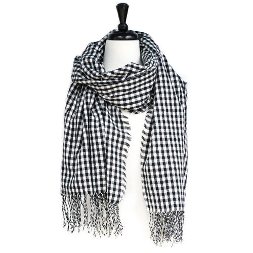 Mini Check Wide Scarf With Fringe