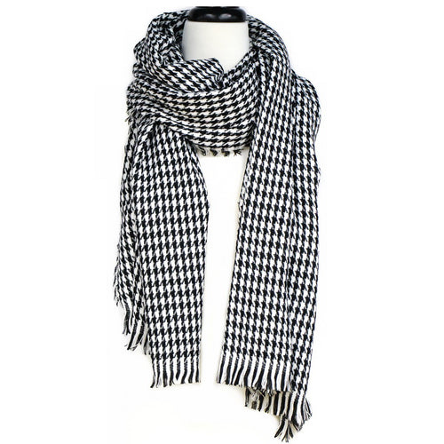 Two Tone Tile Print Scarf With Fringe