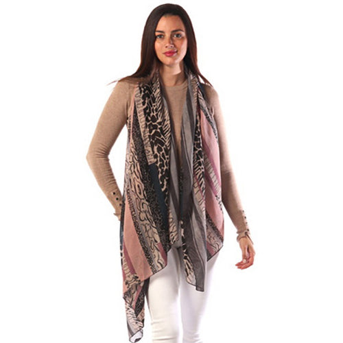 Multi Color Animal Print Oblong Scarf