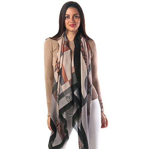 Chain And Animal Print Oblong Scarf