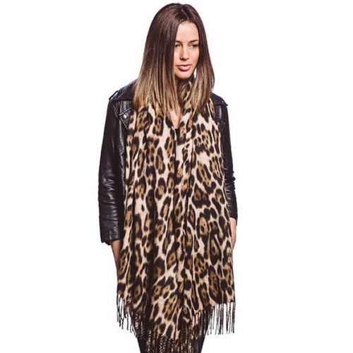 Leopard Printed Soft Oblong Scarf