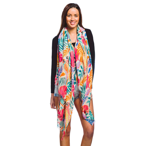 Tropical Print Oblong Scarf