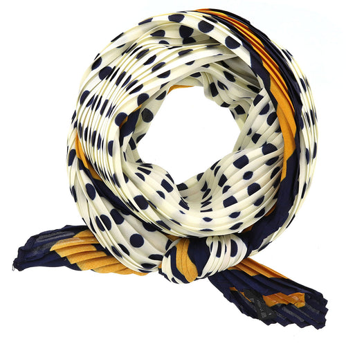 Polka Dot Pleated Bandana Scarf