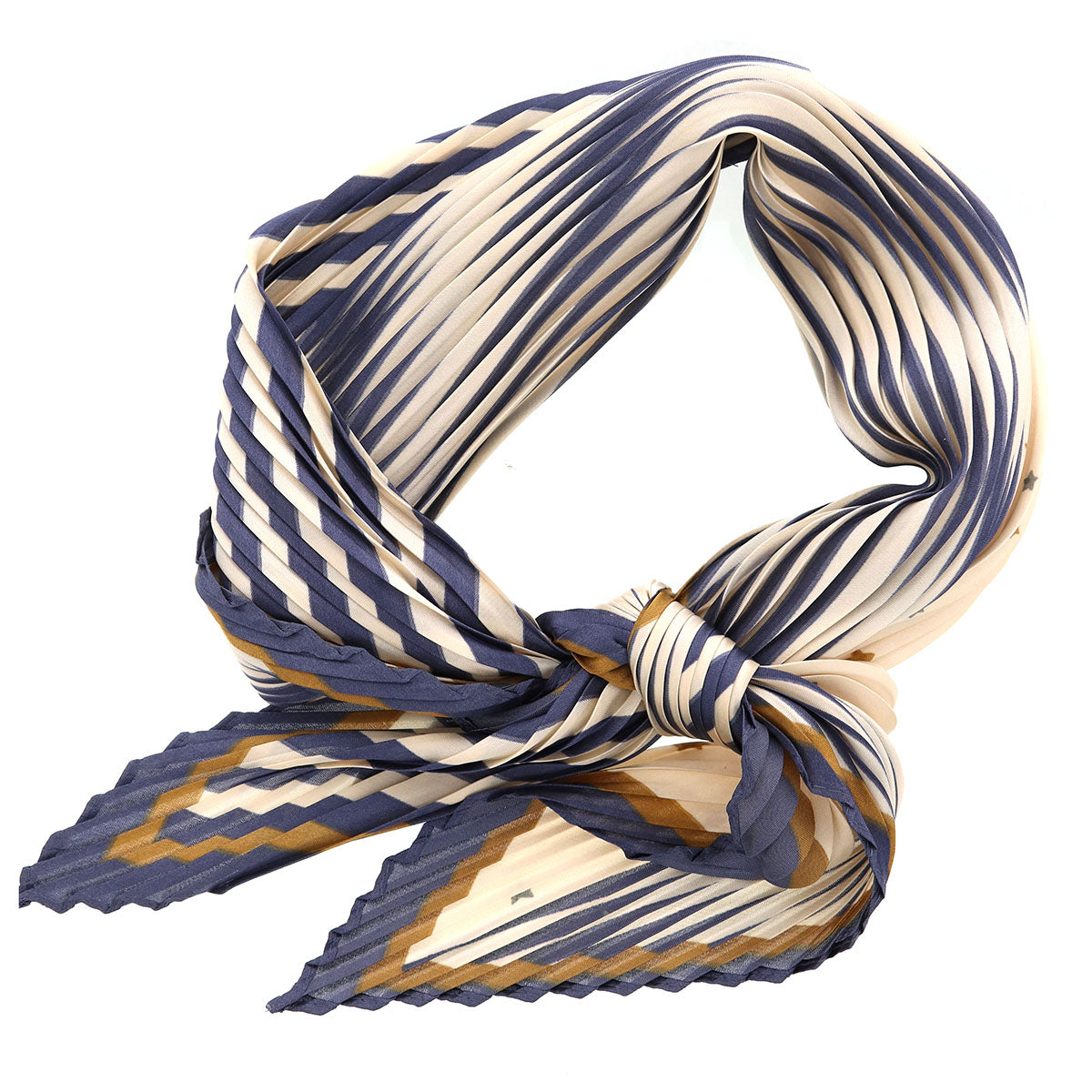 Stripe Little Star Print Pleated Bandana Scarf