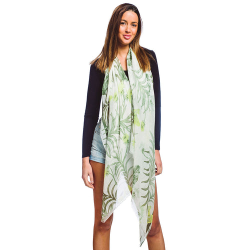 Flower Print Oblong Scarf