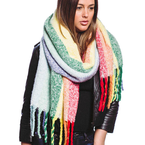 Rainbow Color Soft Oblong Scarf With Fringe