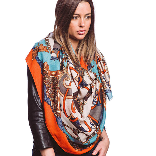 Light Weight Colorful Print Soft Oblong Scarf
