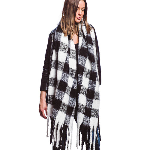 Gingham Check Soft Oblong Scarf with Fringe