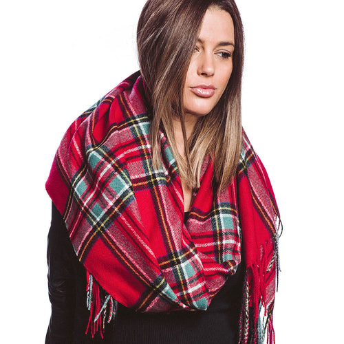 Plaid Soft Oblong Scarf With Fringe