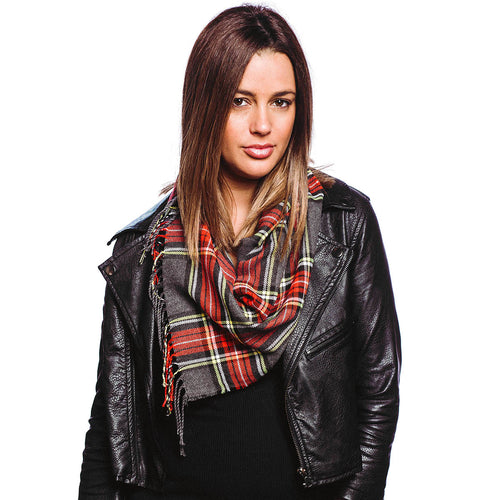 Plaid Check Fringe Scarf