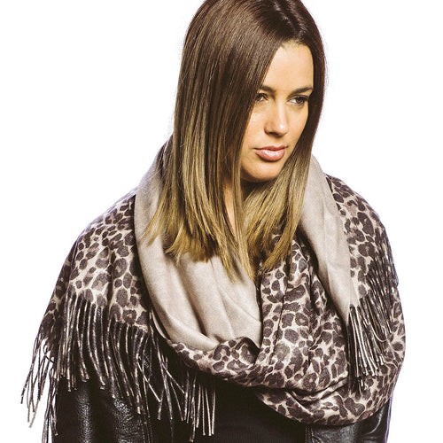 Leopard Print And Solid Reversible Scarf With Fringe