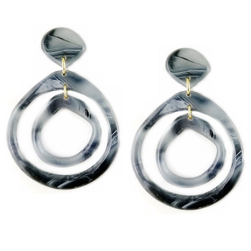 Lightweight Tortoise Double Hoop Drop Earrings