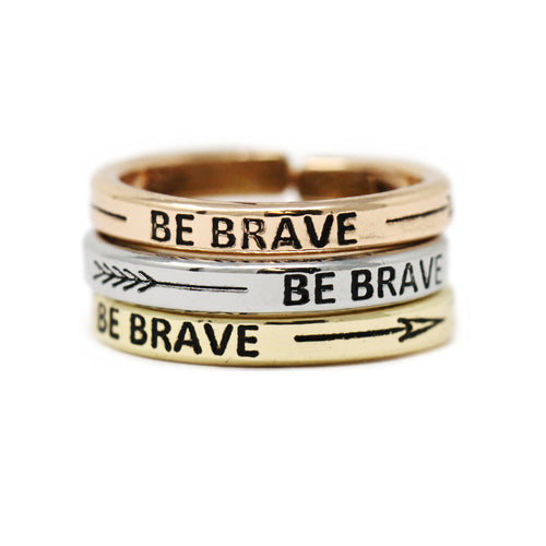 BE BRAVE Inspirational Tri Tone Ring Set