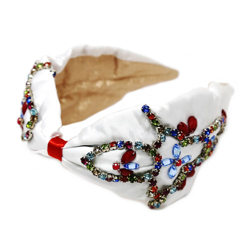 Glass Stone Flower Embellished Fabric Headband