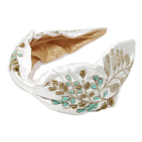 Leaf Seed Bead Embroidered Fabric Headband