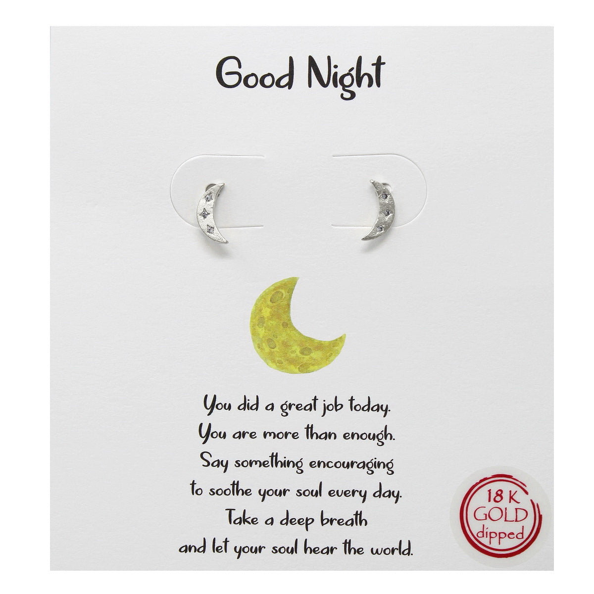 Tell Your Story: Good Night Crescent Moon Stud Earrings