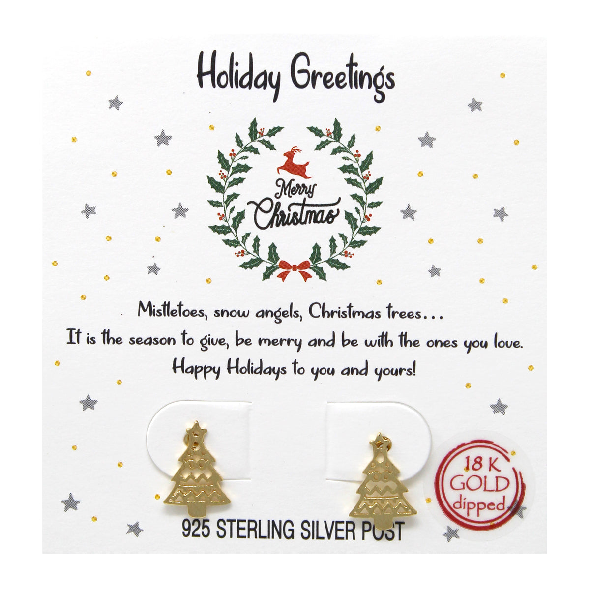 Tell Your Story: Holiday Greetings Christmas Tree Stud Earrings