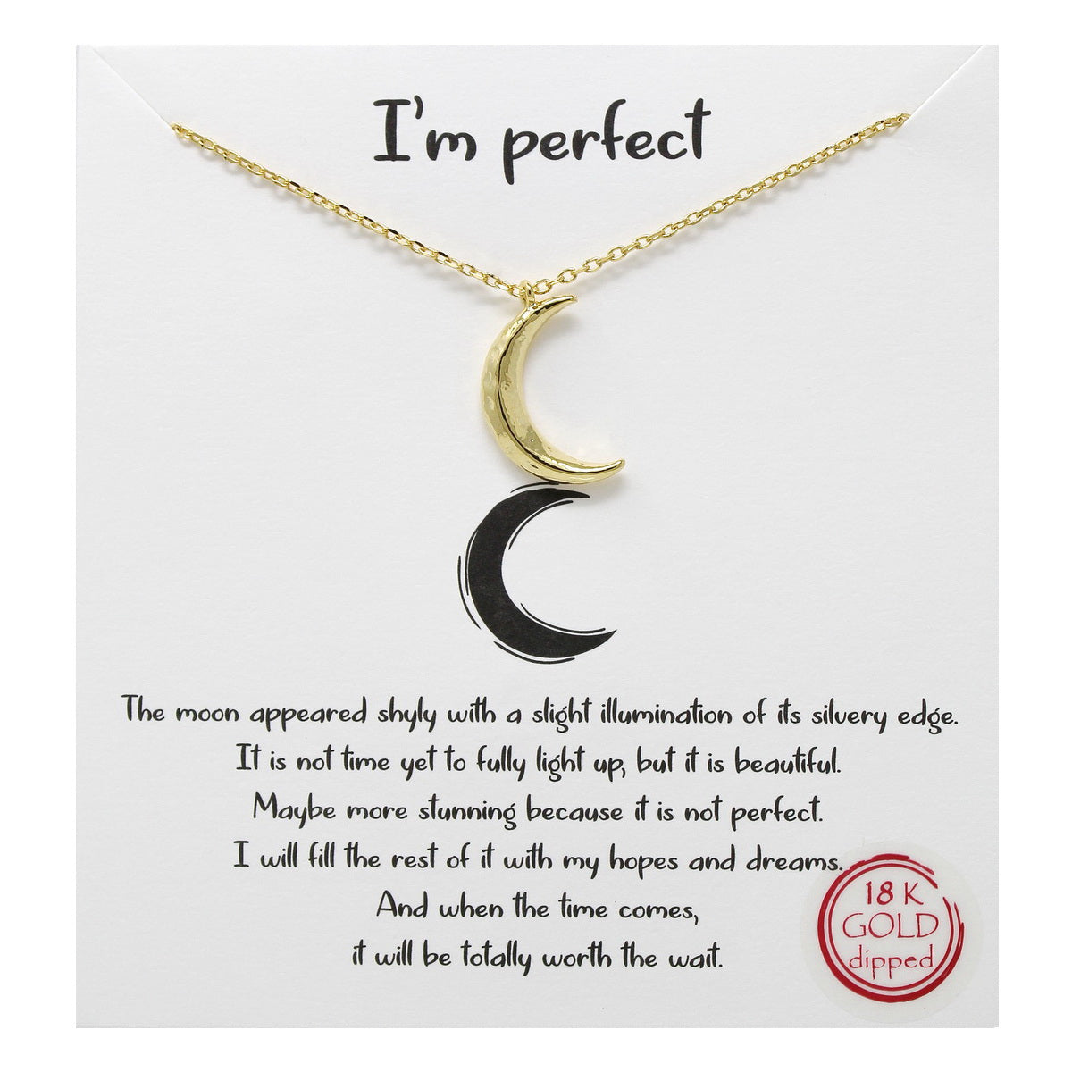 Tell Your Story: I'm Perfect Crescent Moon Simple Chain Necklace
